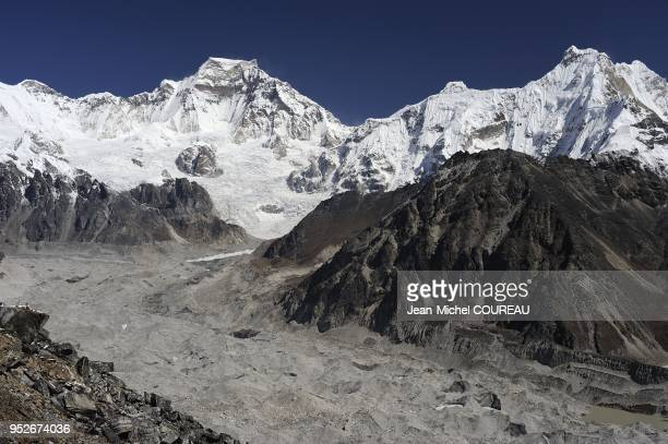 Ngozumpa Glacier is a grey glacier covered with stone and with dust