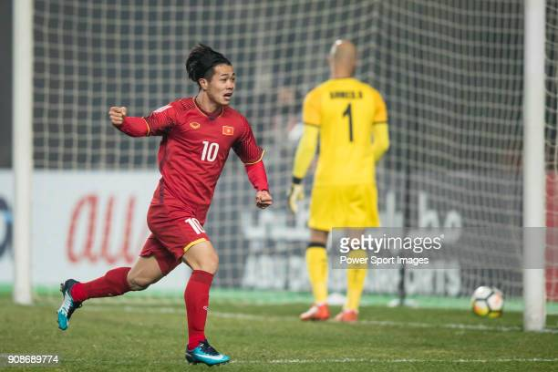 Nguyen Cong Phuong of Vietnam celebrates after scoring his goal during the AFC U23 Championship China 2018 Quarterfinals match between Iraq and...