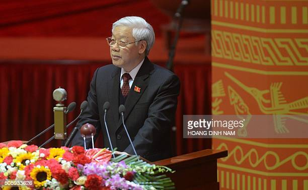 Nguyen Phu Trong Vietnam Communist Party Secretary General delivers the main political speech during the official opening ceremony of the VCP's 12th...