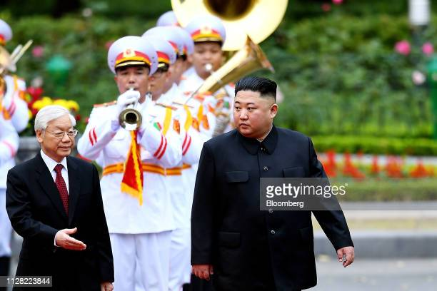 Nguyen Phu Trong Vietnam's President left gestures to Kim Jong Un North Korea's leader during a welcoming ceremony at the Presidential Palace in...
