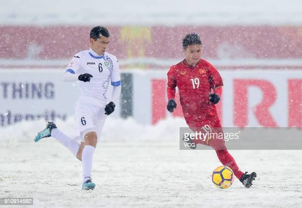 Nguyen Quang Hai of Vietnam drives the ball during the AFC U23 Championship China 2018 final match between Vietnam and Uzbekistan at Changzhou...
