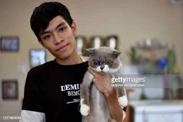 Nguyen Thanh binh, owner of Ngao's Home, a one of its kind cafe and cat rescue place poses with Stormeye, a British Shorthair cat in Hanoi on August...