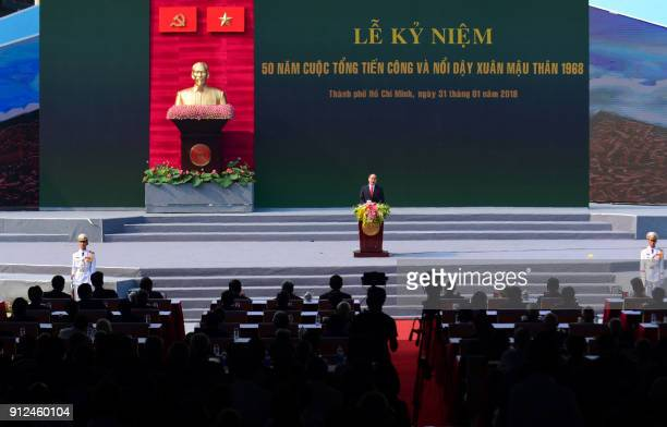 Nguyen Thien Nhan poliburo member and party chief for Ho Chi Minh City delivers a speech during a ceremony marking the 50th anniversary of the Tet...
