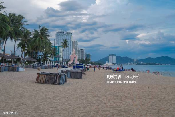 Nha Trang beach in Viet Nam on Aug 17th, 2017.Nha Trang is a coastal city in Vietnam, famous with beautiful beaches and bays