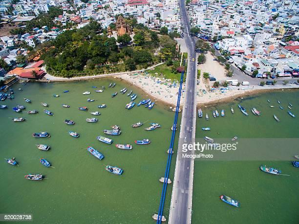 Nha Trang city near the beach from sky.