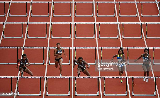 Nia Ali competes in the first round of the Women's 100 Meter Hurdles during the 2016 U.S. Olympic Track & Field Team Trials at Hayward Field on July...