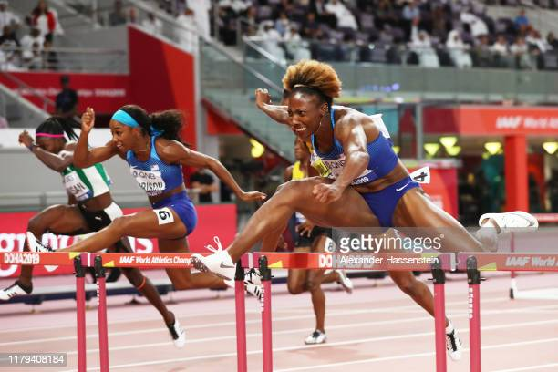 Nia Ali of the United States competes in the Women's 100 metres hurdles final during day ten of 17th IAAF World Athletics Championships Doha 2019 at...