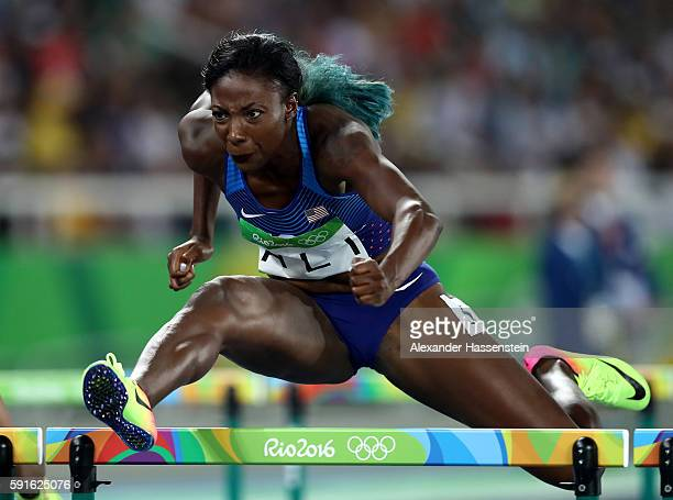 Nia Ali of the United States competes in the Women's 100m Hurdles Semifinals on Day 12 of the Rio 2016 Olympic Games at the Olympic Stadium on August...
