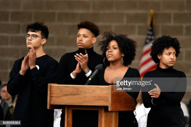 Nia Arrington from Pittsburgh speaking as students from Marjory Stoneman Douglas High School Columbine as well as survivors from Arapahoe and Aurora...
