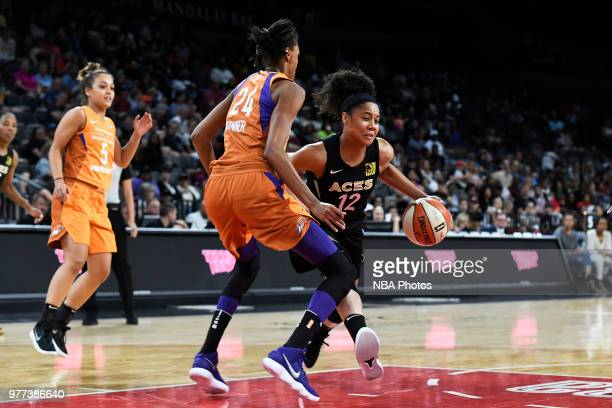 Nia Coffey of the Las Vegas Aces drives to the basket against the Phoenix Mercury on June 17 2018 at the Mandalay Bay Events Center in Las Vegas...