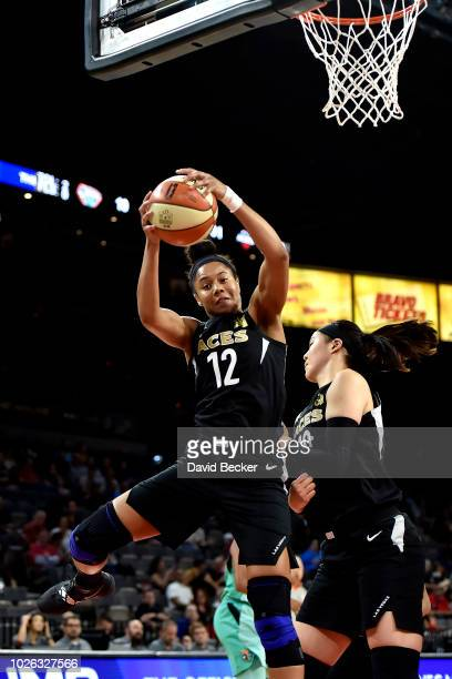 Nia Coffey of the Las Vegas Aces handles the ball against the New York Liberty on August 15 2018 at the Allstate Arena in Chicago Illinois NOTE TO...
