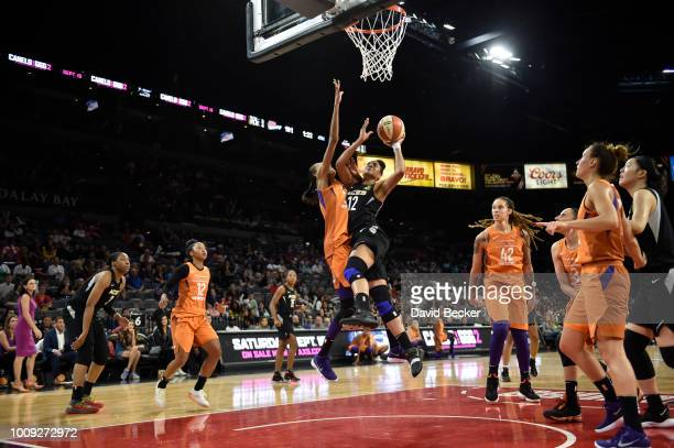 Nia Coffey of the Las Vegas Aces shoots the ball against the Phoenix Mercury on August 1 2018 at the Mandalay Bay Events Center in Las Vegas Nevada...