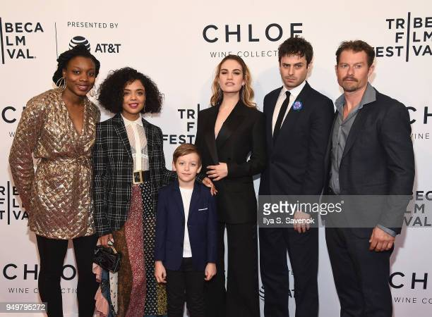 """Nia DaCosta, Tessa Thompson, Charlie Ray Reid, Lily James, Luke Kirby and James Badge Dale attend a screening of """"Little Woods"""" during the 2018..."""