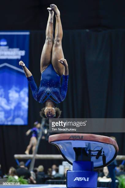 Nia Dennis of UCLA competes in the vault during the Division I Women's Gymnastics Championship held at Chaifetz Arena on April 21 2018 in St Louis...