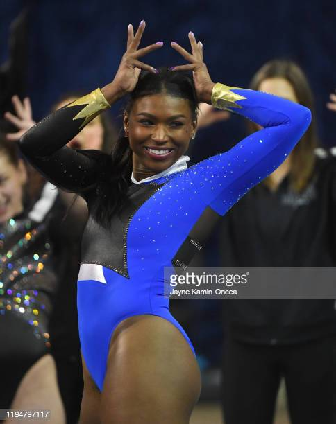 Nia Dennis performs the floor exercise during UCLA Gymnastics Meet the Bruins intra squad event at Pauley Pavilion on December 14 2019 in Los Angeles...