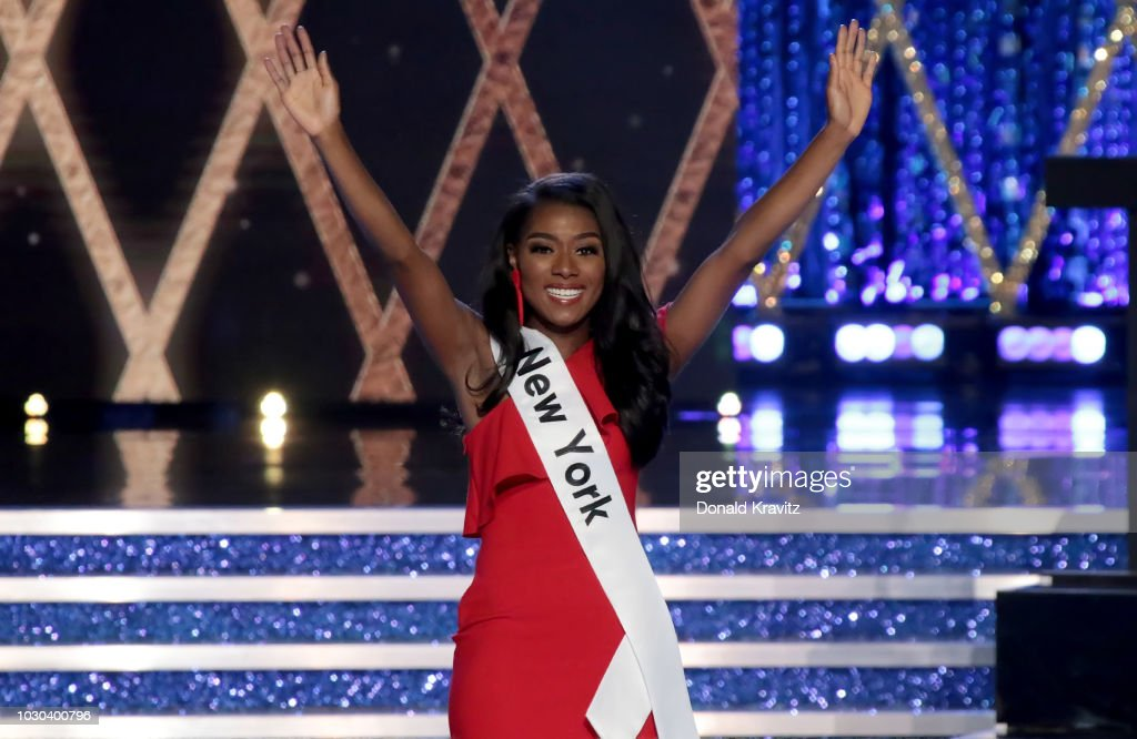 Nia Franklin, Miss America, 2019 introduces herself at the start at the Miss America 2019 Finals at Atlantic City Boardwalk Hall on September 9, 2018 in Atlantic City, New Jersey.