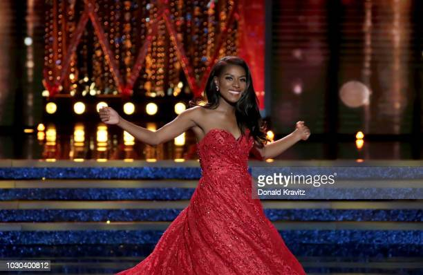 """Nia Franklin, Miss America, 2019 performs a classical vocal song """"Quando m' en vo' in the Talent portion of the Miss America Finals at Atlantic City..."""