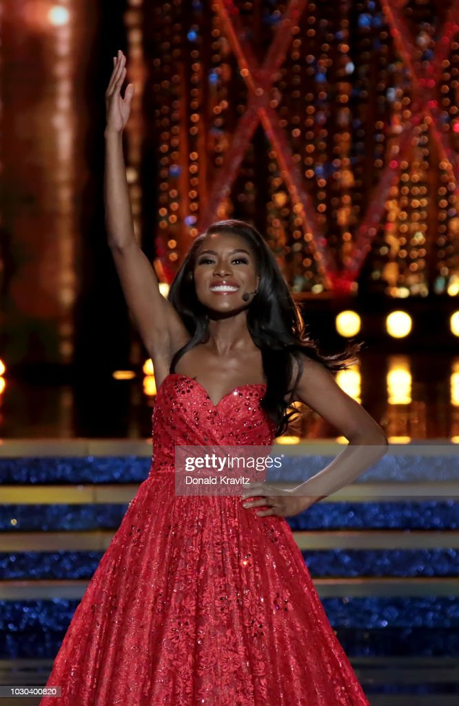 Nia Franklin, Miss America, 2019 performs a classical vocal song 'Quando m' en vo' in the Talent portion of the Miss America Finals at Atlantic City Boardwalk Hall on September 9, 2018 in Atlantic City, New Jersey.