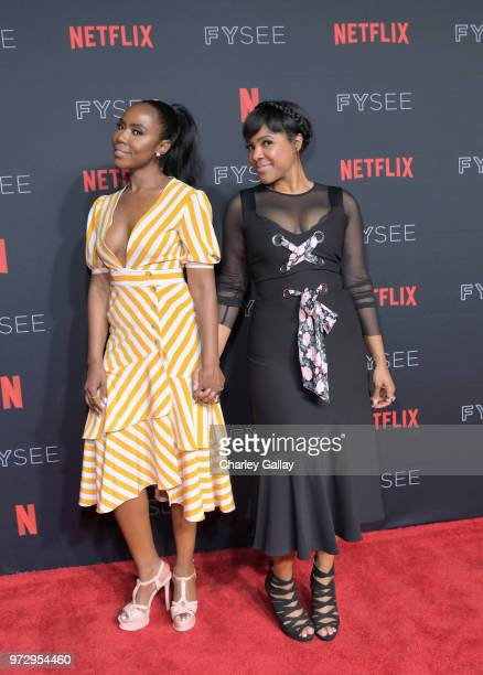 Nia Jervier and Courtney Sauls attend Strong Black Lead party during Netflix FYSEE at Raleigh Studios on June 12 2018 in Los Angeles California
