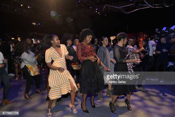 Nia Jervier Antoinette Robertson and Courtney Sauls attend Strong Black Lead party during Netflix FYSEE at Raleigh Studios on June 12 2018 in Los...