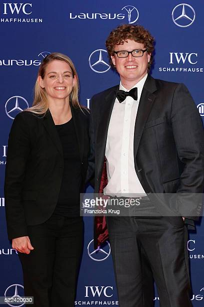 Nia Kuenzer and Felix Groh attend the Laureus World Sports Awards 2016 at the Messe Berlin on April 18 2016 in Berlin Germany