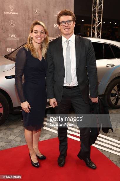 Nia Kuenzer and her husband Felix Groh attend the 2020 Laureus World Sports Awards at Verti Music Hall on February 17 2020 in Berlin Germany