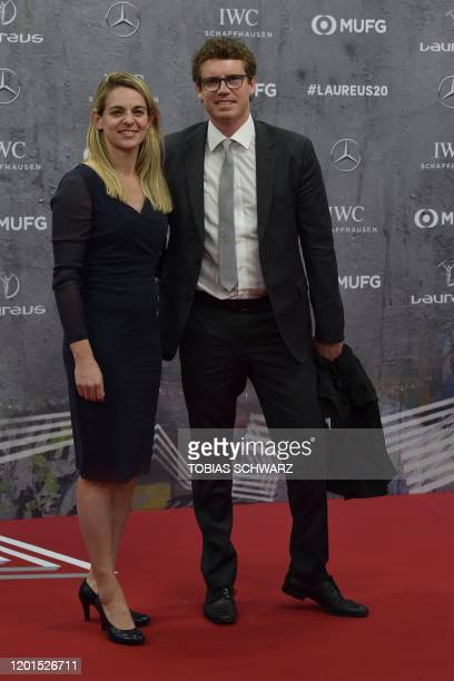 Nia Kuenzer and her husband Felix Groh pose on the red carpet prior to the 2020 Laureus World Sports Awards ceremony in Berlin on February 17 2020