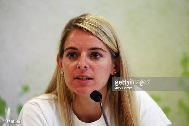 Nia Kuenzer attends a press conference during the presentation of a DFB Mini Soccer Field at FriedrichFroebelSchule on May 5 2011 in Neu Isenburg...