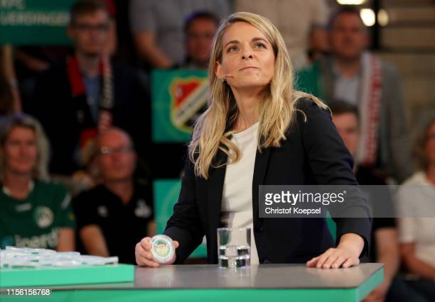 Nia Kuenzer former player of Germany looks on during the DFB Cup 2019/20 First Round Draw at Deutsches Fussballmuseum on June 15 2019 in Dortmund...
