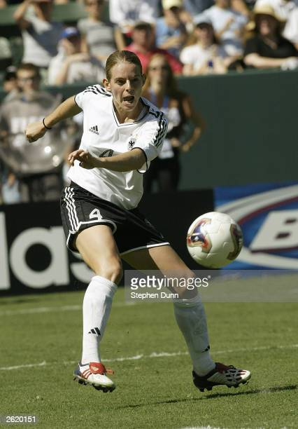 Nia Kuenzer of Germany plays the ball against Sweden during the FIFA Women's World Cup Final on October 12 2003 at Home Depot Center in Carson...