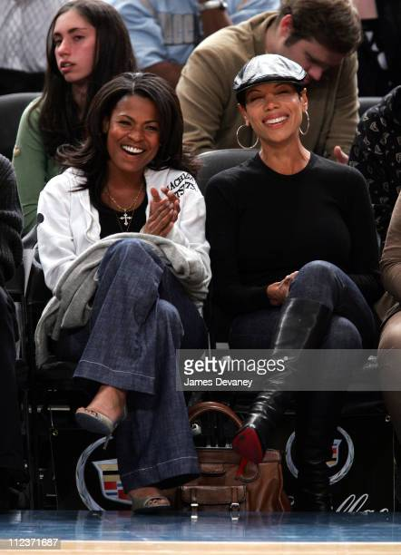 Nia Long and guest during Celebrities Attend Philadelphia 76ers vs New York Knicks Game April 4 2007 at Madison Square Garden in New York City New...