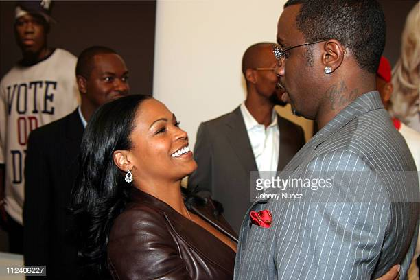 Nia Long and Sean PDiddy Combs during Vote Or Die Political Art Exhibition at Tony Shafrazi Gallery in New York City New York United States
