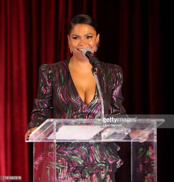 Nia Long speaks onstage at the Celebration of Black Cinema at Landmark Annex on December 02 2019 in Los Angeles California