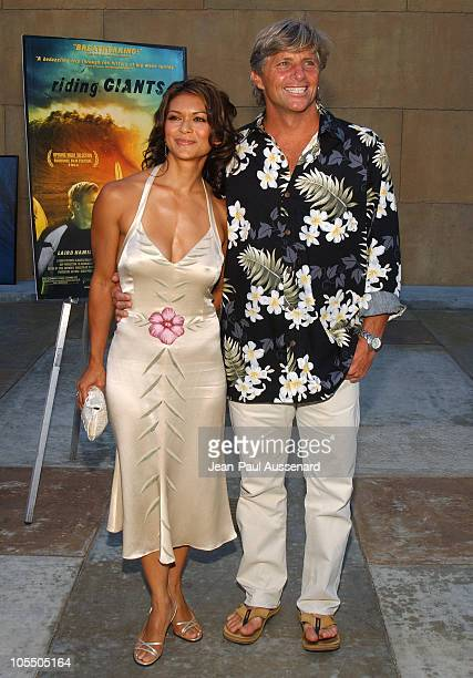 Nia Peeples and Sam George during Riding Giants Los Angeles Premiere at The Egyptian Theatre in Hollywood California United States