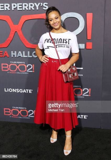 Nia Sioux arrives at Lionsgate's Tyler Perry's Boo 2 A Madea Halloween held at Regal LA Live Stadium 14 on October 16 2017 in Los Angeles California