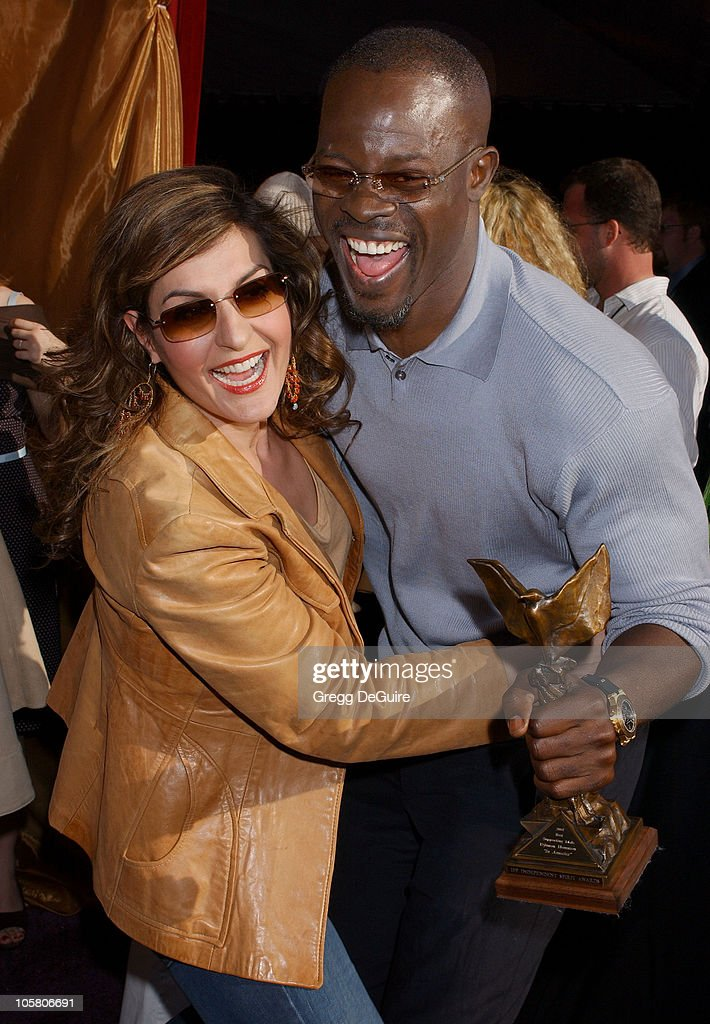 Nia Vardalos and Djimon Hounsou in the Entertainment Weekly tent