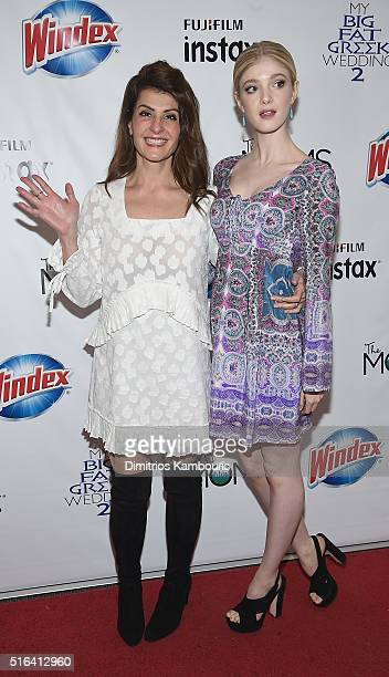 Nia Vardalos and Elena Kampouris attend the Mamarazzi Screening Of My Big Fat Greek Wedding 2 on March 18 2016 in New York City