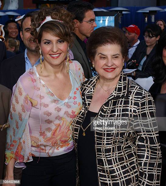 Nia Vardalos and mother during Connie and Carla World Premiere Arrivals at Universal Studios Cinema in Universal City California United States