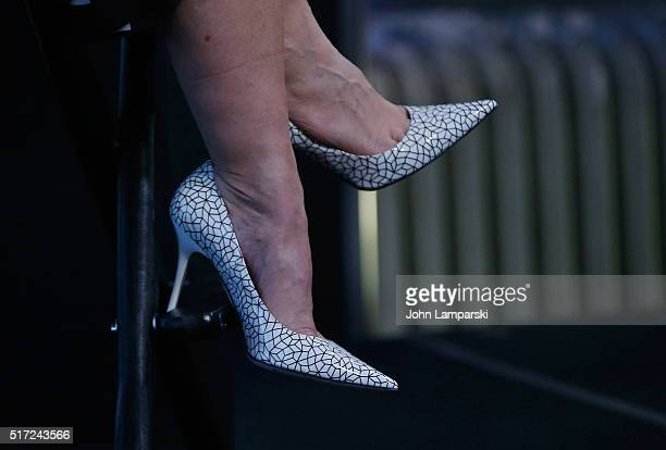 Nia Vardalos shoe detail of My Big Fat Greek Wedding 2 attends AOL Build Speaker Series at AOL Studios In New York on March 24 2016 in New York City