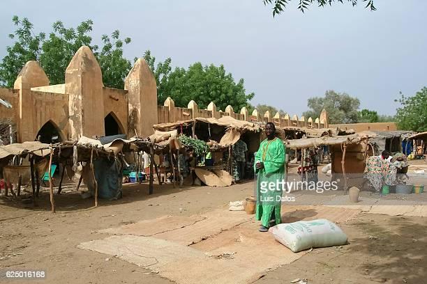 niafunke village market - dafos stock photos and pictures