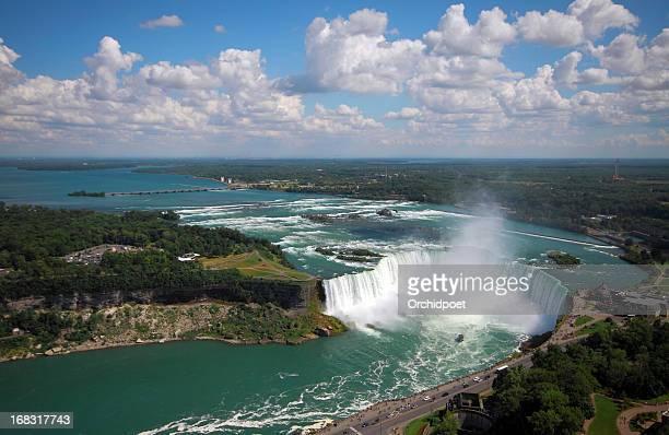 niagara falls aerial view - horseshoe falls niagara falls stock pictures, royalty-free photos & images