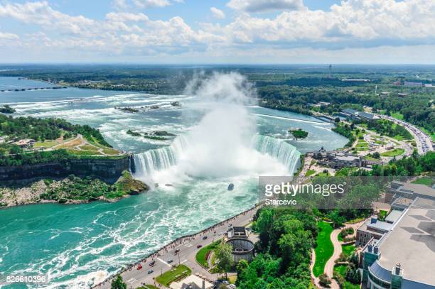 niagara falls aerial view - niagara falls stock pictures, royalty-free photos & images