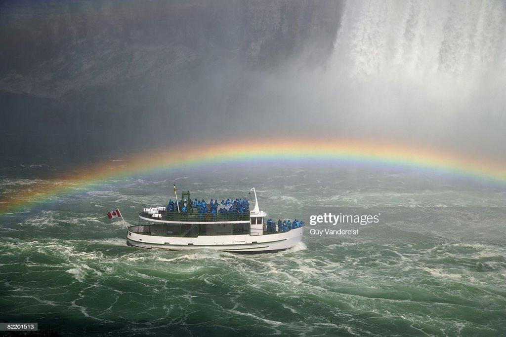 Niagara Falls and tourist boat : Stock Photo