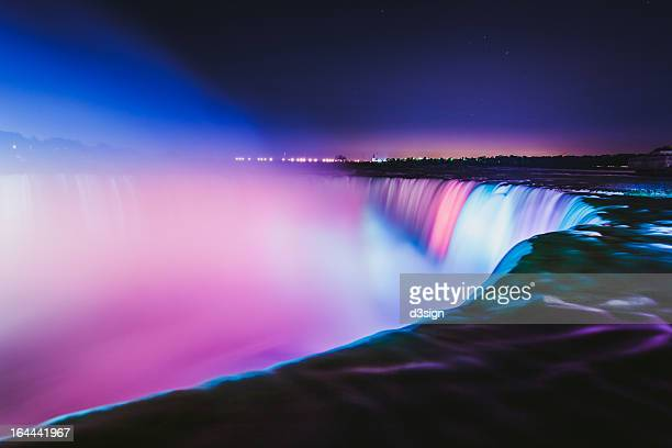 Niagara Falls at night with colorful lighting