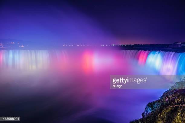 niagara falls at night with colorful lighting - horseshoe falls niagara falls stock pictures, royalty-free photos & images