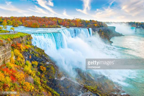 niagara falls autumn landscape - niagara river stock pictures, royalty-free photos & images