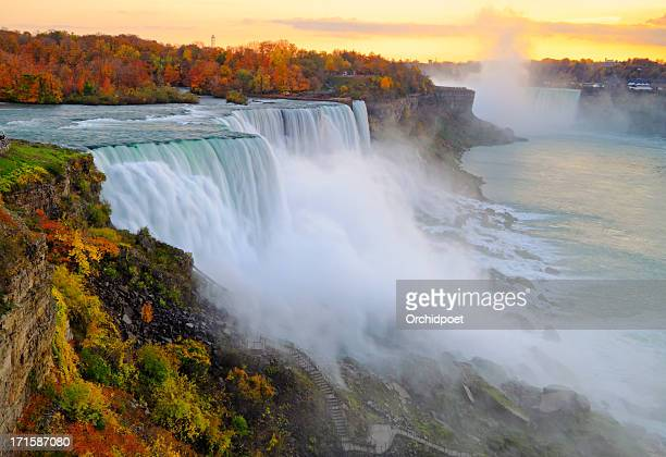 niagara falls autumn sunset - niagara falls stock pictures, royalty-free photos & images