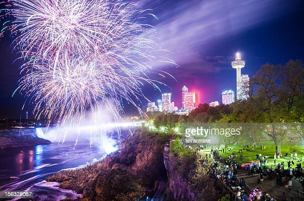 niagara falls fireworks - niagara falls stock pictures, royalty-free photos & images