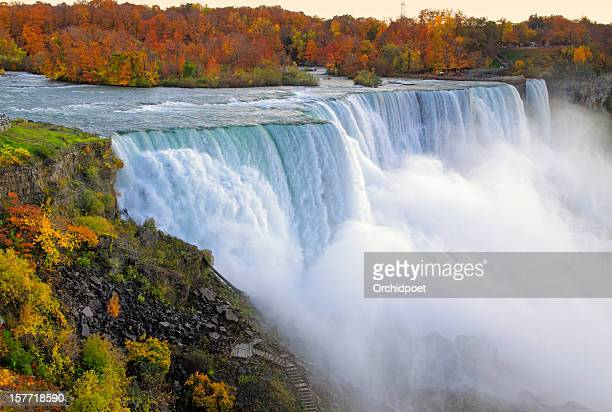 niagara falls in fall colors - niagara falls stock pictures, royalty-free photos & images