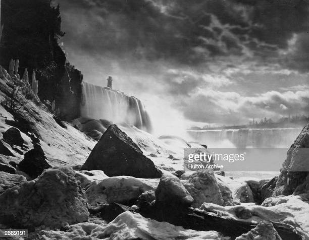 Niagara Falls on the border between Canada and the USA in winter